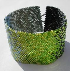 Gradually Green (loveliesfrommihana) Tags: jewelry bracelet etsy cuff glassbead beaded beadwork beadweaving peyotestitch seedbead beadwoven delicabead nymothread loveliesfrommihana