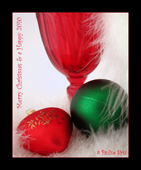 happy holidays... (~pauline sirks ~) Tags: christmas decorations red white green glass feathers happyholidays merrychristmas bauble seasonsgreetings