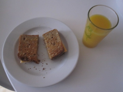 cheese sandwich and juice