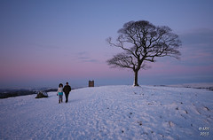 Heading Home (Maria-H) Tags: uk winter sunset england snow tree cheshire nt panasonic g1 nationaltrust lymepark 714 lymecage dmcg1