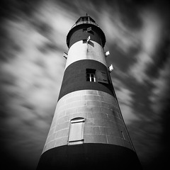Shutters (Andy Brown (mrbuk1)) Tags: longexposure windows sky cloud lighthouse building architecture contrast square mono blackwhite movement stripes plymouth barbican devon drama tone smeatonstower nd110 leefilters
