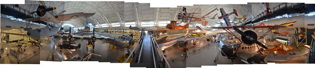 Steven F. Udvar-Hazy Center: Photomontage of Overview of the south hangar, including B-29 Enola Gay and Concorde