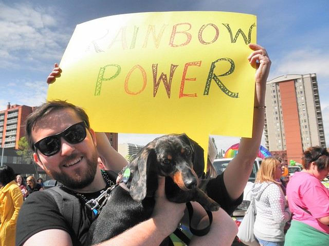 A photo of myself and my dog Max at the 2011 Pride Parade in Edmonton.
