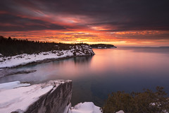 Fire and Ice (andrewpmorse) Tags: brucepeninsulanationalpark brucepeninsula longexposure sunset water lake lakehuron clouds red hot cold canada ontario snow canon canon1635f4l 6d 1635f4l leefilters winter sky