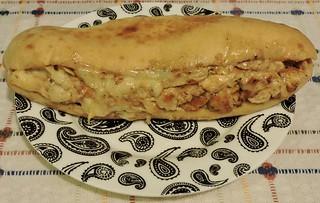 Creamy chicken and three-cheese sandwich