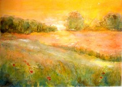 Watercolour:...balmy, evening glow... (Nadia Minic) Tags: field landscape evening abend soleil interestingness glow aquarelle feld watercolour luxembourg paysage soir landschaft champ balmy schein lenningen nadiaminic
