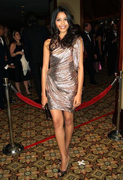 freida pinto gold dress by stylingsydney