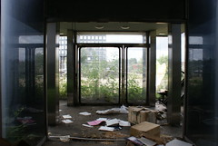 Front doors of The Unisys Towers (Landie_Man) Tags: old london abandoned modern buildings mess looking decay towers brent blocks offices 19961997 uniosys