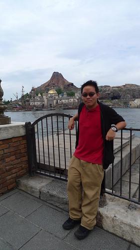 in front of Mount Prometheus in Tokyo DisneySea