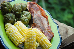 Free Range Pork Chop, Corn and Baby Artichokes from Brave Potato