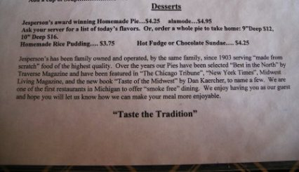 jesperson's menu and history