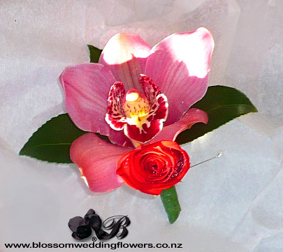 orchid rose buttonhole