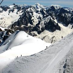 La Dame Blanche (YIP2) Tags: france mountains alps landscape climbing chamonix montblanc climbers aiguilledumidi hautesavoie plandelaiguille
