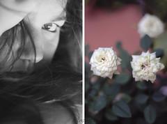 Mai da solo. ([  ] R di Rimmel) Tags: two bw baby white black flower eye me nature face rose female canon hair myself photo donna foto watch young natura bn io sguardo bianco nero occhio due viso eleonora ragazza capelli eos350 lookingfor femmina rimmel giovane i dittico