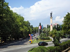 Kurortniy Avenue - Main street in Sochi (Vlad Feoktistov) Tags: road park blue summer sky plants cloud holiday tree green monument leaves car wonderful landscape michael warm downtown paradise russia palmeiras palm resort ave vegetation platanus column plantae resorts subtropical orthodox palmae spa archangel dracaena prospect russie humid sochi rusia subtropics russland  washingtonia arecaceae    dracaenaceae sotchi saintmichaelthearchangel  palmaceae sotschi soi michaelarchangel