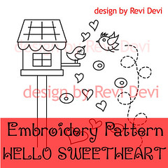 hello sweetheart (revi1001) Tags: tree bird nature modern birdie forest pattern hand stitch embroidery doodle kawaii owl etsy graden whimsical revidevi revi1001