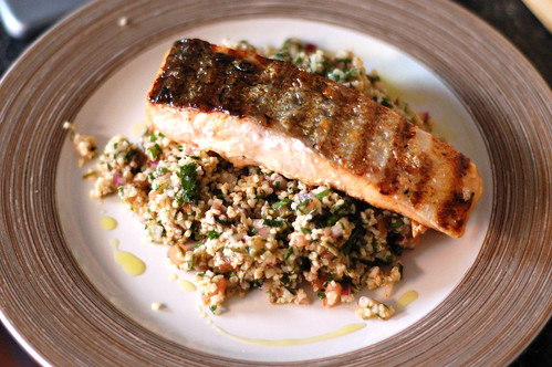 Salmon with tabbouleh
