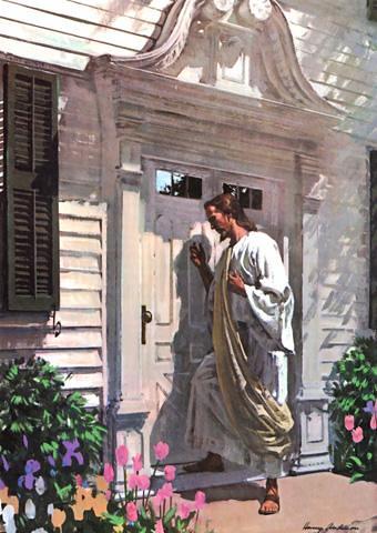 pintura de Jesús llamando a la puerta de una casa