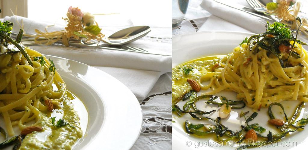 Linguine alla crema di zucchine e caprino, bucce croccanti e olio al prezzemolo