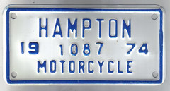 VIRGINIA 1974 ---HAMPTON MOTORCYCLE plate (woody1778a) Tags: world auto signs canada cars car bike sign vintage virginia edmonton photos antique tag woody plate tags licenseplate collection number photographs cycle license motorcycle plates hampton foreign oddball npcc numberplate licenseplates numberplates licenses rarity cartag carplate carplates autotags cartags autotag foreigns alpca pl8s worldplates worldplate foreignplates platetag