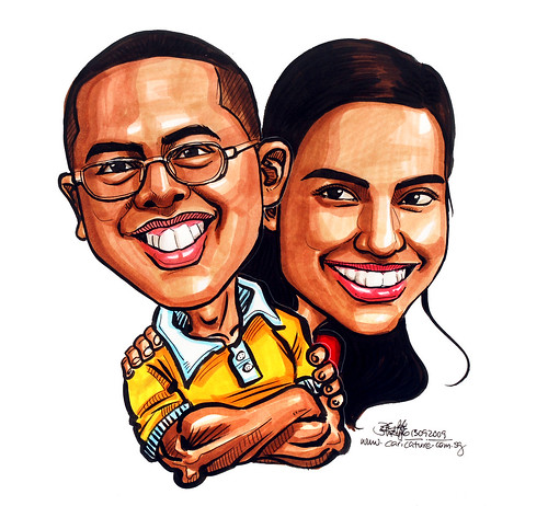 Couple caricatures in colour 130909