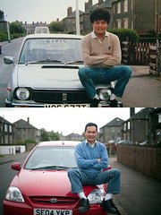 Changes: Dad (TGKW) Tags: street red portrait people man car honda silver scotland dad sitting time chinese civic kia ayr bonnet changes 9072