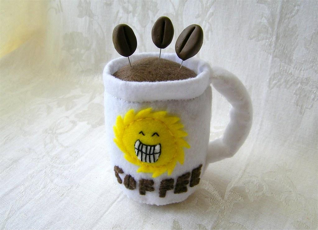 Coffee Mug Felt Pincushion with Three Decorative Coffee Bean Pins