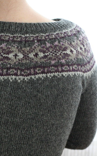 Yoke detail, Plum Frost Cardigan