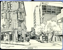 crockett at alamo plaza (paul heaston) Tags: urban blackandwhite art moleskine thread sanantonio notebook artwork drawing journal sketching sketchbook location historic alamo penandink ssp saset