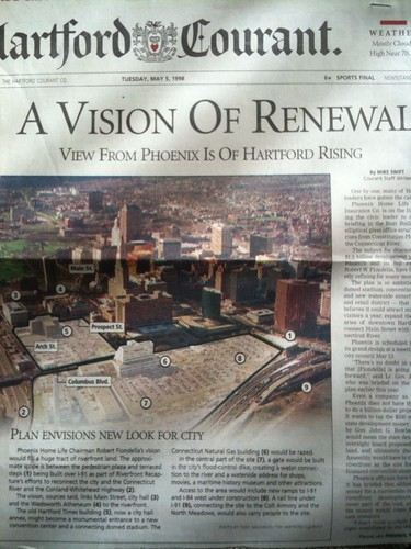 A massive vision for renewal for the Hartford riverfront. Hartford Courant, May 5, 1998.