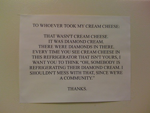 cream cheese in the fridge with diamonds
