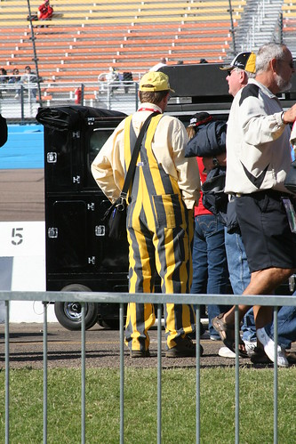 Race fans are an interesting breed..this guys outfit proves it.