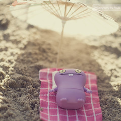Babo at the Beach (25/30) (Morphicx) Tags: pink sun sunlight blur beach actionfigure 50mm purple action bokeh vinyl ugly 5d uglydoll 50 uglydolls babo 30days 5014 bokehwhores bokehwhore uglydollsunite uglydollunite
