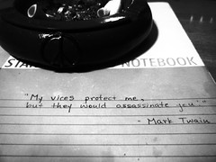 115/365: My vices (joyjwaller) Tags: blackandwhite japan notebook tokyo bedroom vice muse quotes ashtray cigarettes marktwain project365 inspirationalmusicfordoomed20somethingwriters