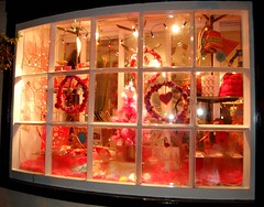 i'm dreaming of a pink xmas.. (tamsyng) Tags: christmas xmas pink window shop buttons yarn wreath fabric woolshop tamsyngshop gillinghamchristmaswindowcompetition