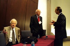 Gary Becker (L), Richard A. Posner (C) @ 2009 Coase Conference (Day 2), University of Chicago School of Law