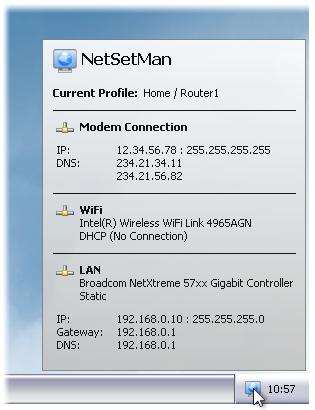 NetSetMan - легкое переключение между сетевыми подключениями