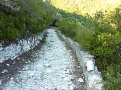 Sur le sentier Paraguano-Bonifacio : le bel escalier de pierre à l'arrivée à la calanque N de Bonifacio