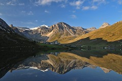 Lac de Tignes (Occlude) Tags: lake france mountains alps reflection hiking lac glacier reflected tignes vanoise gr5 goldstaraward