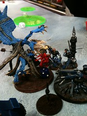 The Greater Daemon rips some poor guardsmen to pieces