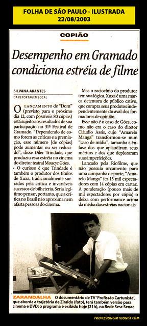 """""""Zarandalha"""" - Folha de São Paulo - 22/08/2003"""