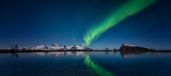 Blue/green (eriknst) Tags: lofoten aurora nikon d810 ice snow night blue green eriknst 2017 february learning practicing photography low light norway norvege gimsøy svolvær reflection mountains water lake landscape seascape trees sky stars astrophotography norwegen north arctic