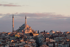 Domes 'n' dishes at dawn (Anthony P26) Tags: architecture category citiestowns external istanbul places sunrise travel turkey architecturephotography classicalarchitecture ottoman domes satellitedishes minarets mosque placeofworship rooftops rooves city cityscape dawn morning travelphotography canon70d canon tamron70300 outdoor hill view skyline sky bluesky clouds fatihcamii fatihmosque