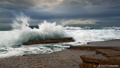 Splash (-yury-) Tags: ocean sea sky seascape beach clouds canon landscape rocks sydney wave australia 5d splash avalon northernbeaches abigfave