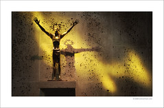 """Christ Risen"" (Ian Bramham) Tags: light glass statue liverpool photography 50mm golden photo nikon catholic christ cathedral fineart stained explore figure wabisabi christianity metropolitan redemption merseyside crucified christrisen arthurdooley d40 f14g iamflickr ianbramham"