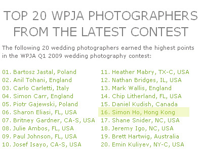 simon.the.photo ranked as one of the top 20 wedding photographers in wpja 09 Q1 contest 5