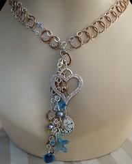 Under the Sea Necklace (Hot Rocks) Tags: ocean sea seastar starfish pearls silver sanddollar chains seaweed heart copper blue glass beads necklace beach hotrocks jewelery