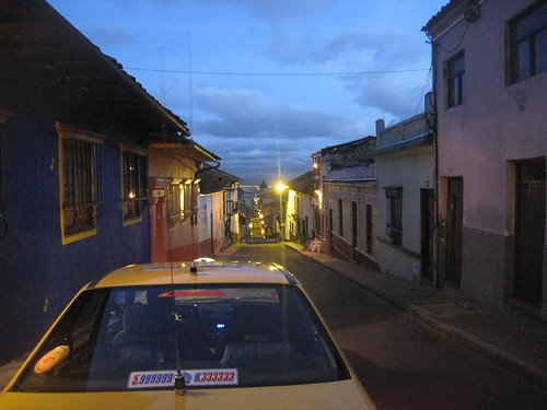 The early morning view outside my Bogota hostel