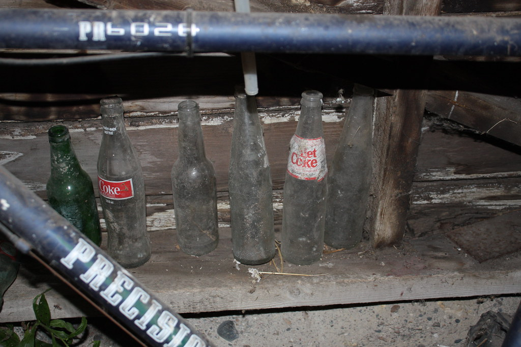 Antique bottles in the shed