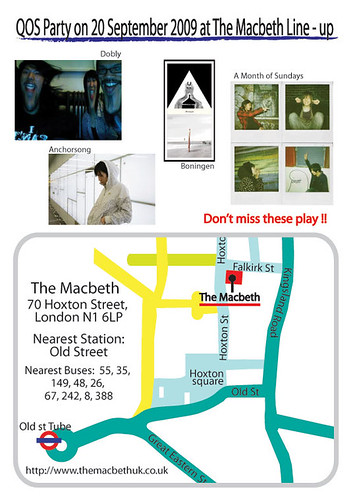 QOS party on 20 Sep 2009 at The Macbeth!Back Flyer.